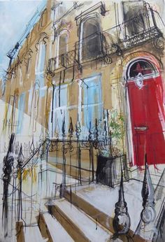 Mixed media artist living and working in the Edinburgh New Town - painting and drawing the surrounding Georgian Architecture. Building Sketch, Building Art, Watercolor Architecture, Architecture Art, Artist Sketchbook, My Art Studio, A Level Art, Urban Sketching, Modern Landscaping
