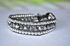 The Tami Bracelet: Handmade Silver Bead and Crystal Single Leather Wrap Bracelet