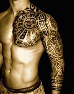 Azteken Tattoo Brust und Arm