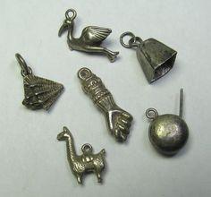 *SOLD* Lot of Six Vintage Silver Bracelet Charm by lifeintheknife on Etsy, $22.99