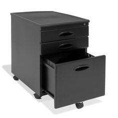 Elegant Black 3 Drawer Locking Mobile Filing Cabinet With Casters