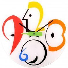 Bottle Play wandklok  Een klok met een smoeltje.  Deze leuke picasso klok heeft een seconde wijzer als een fles. Vandaar zijn naam Bottle Play.   Deze wand klok is van glas. Met zijn vrolijke retro kleuren past deze klok in elk interieur.   Uit de Nextime collectie.   Formaat: Wall clock, 43 cm Ø, glass, various colours, `Bottle Play`.   Designer: SALVATOR EAIELLO.