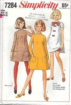 Simplicity 7284-1960s Mod Mini Tent Dress Sewing Pattern, offered on Etsy by GrandmaMadeWithLove