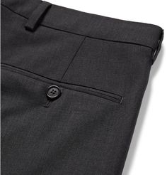 <a href='http://www.mrporter.com/mens/Designers/Acne_Studios'>Acne Studios</a>' 'Brobyn' suit trousers are cleverly designed with soft rubber strips lining the waistband - not only do they keep the fit secure, but they also make sure your shirt stays tucked. They're tailored from soft stretch-wool and have neat creases that emphasise the streamlined slim cut. Wear yours with a rollneck sweater and the [matching jacket id10...