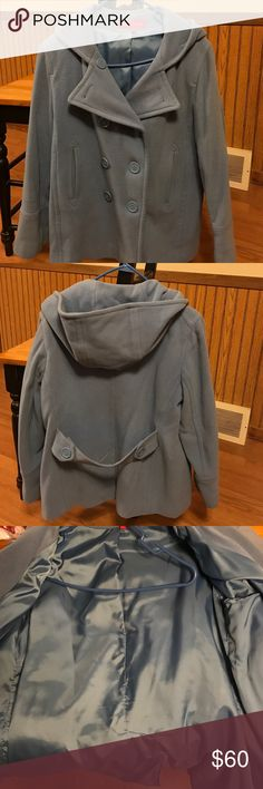 Anne Klein wool pea coat Beautiful blue wool pea coat with hood. Gently cared for and recently dry cleaned. Anne Klein Jackets & Coats Pea Coats