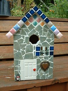Large mosaic Birdhouse. (front view).  ~~~Mosaic by Diane Erickson~~~