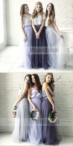 Cheap Two Piece Round Neck Long Light Blue Grey Silver Purple Lilac Tulle With Top Lace Bridesmaid Dresses, Bridesmaid Dresses, VB0707 #bridesmaid #bridesmaiddresses #bridesmaiddresses2018
