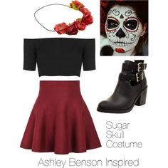 a fashion look from october 2014 featuring retro shirts ruffle skirt and black cutout booties candy skull costumeblack dress halloween