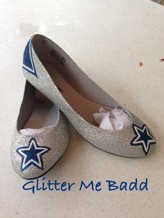 Glitter flats with Navy Blue Star design by GlitterMeBadd on Etsy, $70.00
