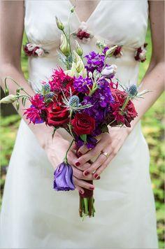 purple wedding bouquet | purple and red florals | wedding in the woods | #weddingchicks