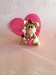 Polymer Clay Pig - Valentine Pig - Pig Collecitble - Pig Gift - Valentine's Day Decor - Clay lady bug on Etsy, $14.00