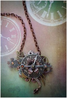 Steampunk Necklace  The Clock Arrangement  by AngelaVenArtwork