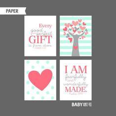 Koraal en Mint Girl kinderkamer kunst wordt door babyartprints