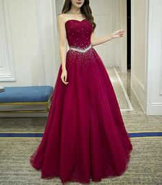 Wine Red Beaded Long Prom Dress Lovely Party Dresses cm Occasion date For the exactly right measurements or size, please have a look our measuring guide at first Cute Prom Dresses, Tulle Prom Dress, Ball Dresses, Homecoming Dresses, Pretty Dresses, Strapless Dress Formal, Beautiful Dresses, Evening Dresses, Bridesmaid Dresses