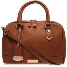 Carvela Kurt Geiger Chelsea Bowling Bag ($70) ❤ liked on Polyvore featuring bags, handbags, tan, bowler handbag, brown handbags, bowling bag, brown purse and brown bag