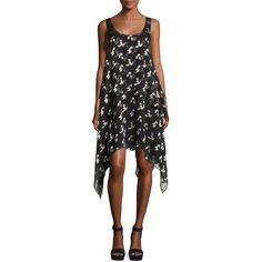 Opening Ceremony Gestures Floral Burnout Handkerchief Dress ($375) ❤ liked on Polyvore featuring dresses, black pattern, scoop-neck dresses, floral day dress, tiered dress, pattern dress and print dresses