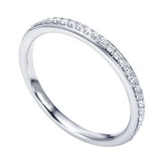 Genesis Designs WB7537W44JJ Wedding Ring 14K White Gold Contemporary Straight Band Featuring Beautiful Pave Set