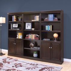 kathy ireland Home by Martin Fulton Wood Wall Bookcase with Doors - Espresso Image