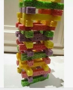 Toddler Jenga with sponges