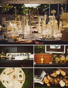 backyard wedding cigar bar | Found on weddingstylemag.com
