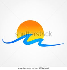 waves and sun vector symbol