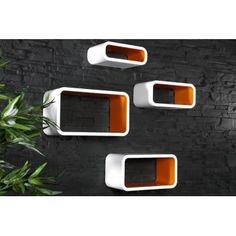 Retro design floating shelves in white and orange 4pcs wooden shelving unit - www.neofurn.co.uk