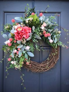 Spring Hydrangea Wreath Spring Wreaths Door Decor Spring Pink Green New Home Gift Housewarming Gift Spring Gift Ideas Mothers Day Gift Hydrangea Wreath, Floral Wreath, Door Wreaths, Grapevine Wreath, New Home Gifts, Soft Colors, Mother Gifts, Pink And Green, House Warming