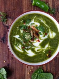Vegetarian Kale Soup Recipe , a rustic healthy and beyond delicious kale and spinach soup, with a nice kick from chile peppers and crunch from pumpkin seeds