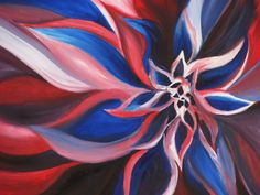 Oil Painting of a Flower. Only used red white and blue paint.