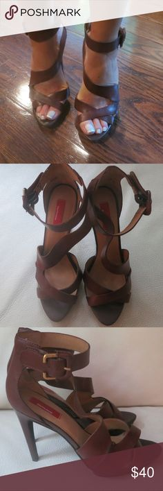 Saks5thavenue Brown Leather Heeled Sandals Excellent Condition. Barely worn! Saks Fifth Avenue Shoes Heels