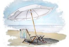 beach chair and umbrella watercolor-no mention of artist 550 x 379 Beach Watercolor, Watercolor Landscape, Watercolor Paintings, Watercolors, Watercolor Ideas, Chair Photography, Chair Drawing, Parasols, Umbrellas