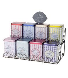 Harney & Sons Tea Display Rack – Decorative Wire, for Eight Tins. How many tea tins do you have? If you've run out of space on your shelf or in a drawer, and want to display your tea collection, we have the solution for you! Made exclusively for Harney & Sons, this elegant wire rack holds eight of our tea tins (from our Classic Collection, HT Collection, Fresh Brew Iced Tea Collection, 8 oz loose tea tins, or similarly sized specialty teas). May be mounted to the wall, or placed on your…