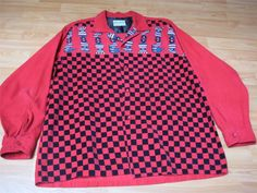 VINTAGE 1950 S  PENNEY S TOWNCRAFT  CHESS PRINT CORDOROY ROCKABILLY SHIRT -L- NR