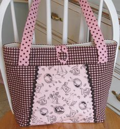 BUNNY TOILE~Checks~Polka Dots~Chocolate~Pink Fabric Handbags, Quilted Handbags, Quilted Bag, Fabric Bags, Bag Quilt, Diy Pouch No Zipper, Blue Jean Purses, Diy Bags Patterns, Homemade Bags