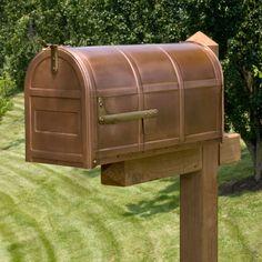 Bartlett Post Mount Copper Mailbox   Signature Hardware Oversized