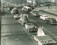 1957 University of Minnesota Homecoming Parade Down Washington Avenue. #UMN #ForeverGolf #1950's