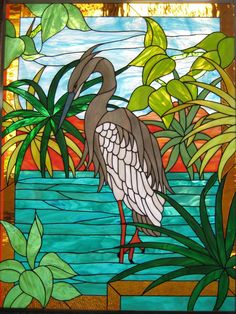 Great Blue Heron in a marsh scene. J&M Stained Glass North Myrtle Beach, South Carolina