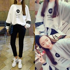 2017 Women Autumn Long Sleeve Shirt Tops Fashion Letters Print Sweater Outwear