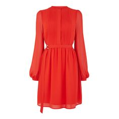 Warehouse Warehouse Chiffon Shirt Dress Size 6 (664.565 IDR) ❤ liked on Polyvore featuring dresses, bright red, sleeved dresses, blouson dress, red chiffon dress, red pleated dress and pleated dress