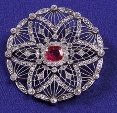 Edwardian Platinum, Ruby and Diamond Brooch | Sale Number 2270, Lot Number 331 | Skinner Auctioneers