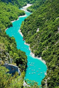 Kayaking down the Gorge de Verdon, France.