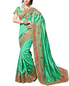 Gracefully Stunning Is What You Will Look Like By Wearing This Engagement Saree From The House Of Simaaya Fashions. http://www.simaayafashions.com/engagement-crepe-silk-saree-in-green-wedrajbala  SimaayaFashions#Engagement#WeddingCollection#BridalWear#FestiveCollection#PartyWear#OnlineShopping
