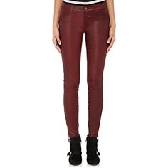 J Brand Women's High-Waist Leather Skinny Pants ($948) ❤ liked on Polyvore featuring pants, bottoms, burgundy, burgundy leather pants, leather skinny pants, high waisted leather pants, red leather pants and burgundy high waisted pants
