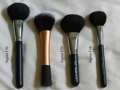 MAKEUP BRUSHES :: Review & Comparison of Real Techniques Powder Brush vs. Sigma F10, F20, F30 (CLICK for more pix, too!)