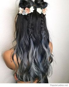 Black to grey hair with some flowers