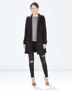 Image 1 of HOODED TRENCH COAT from Zara