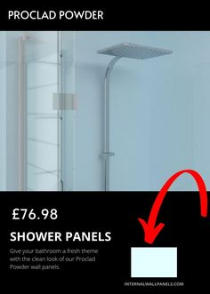 These are perfect for shower and bathroom walls and give your bathroom a truly unique appearance with premium uPVC sheeting. As with all Proclad panels, no specialist wall treatment is needed before fitting - simply adhere onto flat , dry walls using our adhesive. Shower Wall Panels, Cleaning Walls, Drywall, Wall Treatments, Bathroom Wall, Adhesive, Powder, It Is Finished, Flat