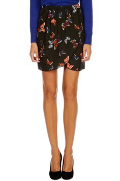 Butterfly print wrap skirt - oasis