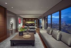 Skyline views and open living spaces