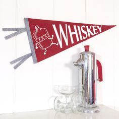 Pennant Whiskey Silkscreen Hand Screen Printed on Red Wool Felt by miriamdema on Etsy https://www.etsy.com/listing/203067349/pennant-whiskey-silkscreen-hand-screen